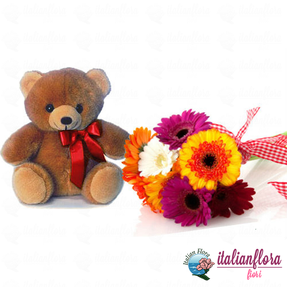 Vendita bouquet di gerbere colorate e peluche consegna a for Fiori gerbere