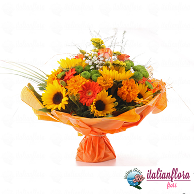 Bouquet con girasoli e gerbere colorate